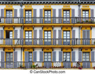 bâtiment, sebastian, façade, san, espagne