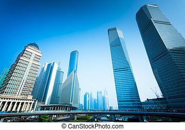 bâtiment, shanghai, bureau
