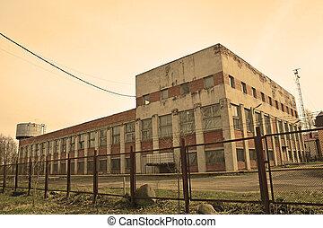 bâtiment, shlisselburg, usine, ville, russie
