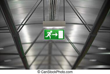bâtiment, signe cas imprévu, vert, sortie, public
