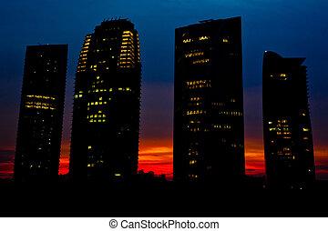 bâtiment, silhouette, bureau