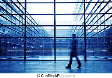 bâtiment, silhouette, salle, gens bureau
