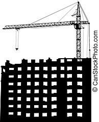 bâtiment, silhouettes, blanc, grue, fond