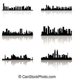 bâtiment, silhouettes