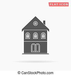 bâtiment, simple, plat, icône
