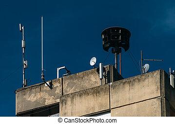 bâtiment, sirène, appartement, civil, sommet, défense