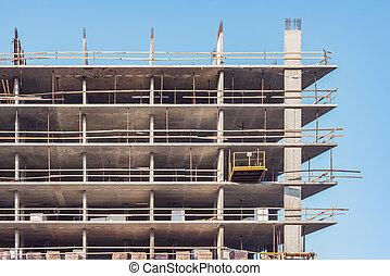 bâtiment, site., construction, extérieur, nouveau