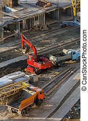 bâtiment, site., machines, fonctionnement