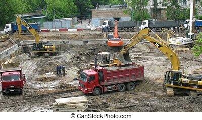 bâtiment, site., travail, lapse., temps