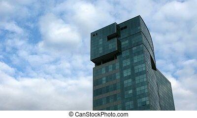 bâtiment, sky., défaillance, nuageux, fond, temps