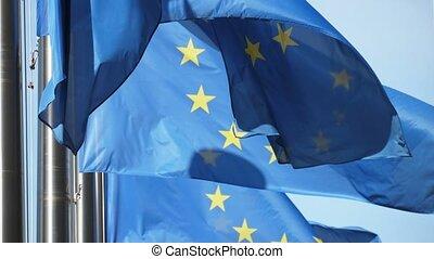 bâtiment, slo-mo, beaucoup, commission, drapeaux, eu, bruxelles, européen