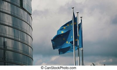 bâtiment, slo-mo, union, voler, trois, ec, temps, drapeaux,...