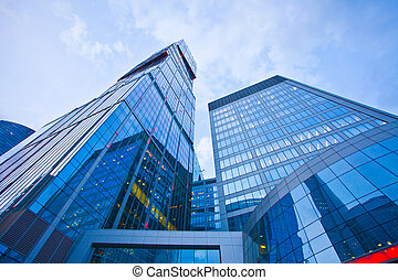 bâtiment, soir, moderne, bureau