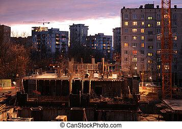 bâtiment, soir, vue
