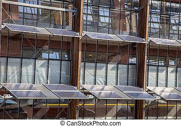 bâtiment, solaire, bureau, panneaux, devant