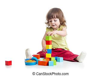 bâtiment, sourire, jouets, girl, bloc jouant, gosse