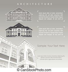 bâtiment, spécification, plan, architectural