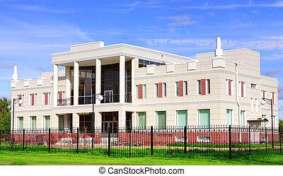 bâtiment, spikes., barrière, maison, métal, colonnes, aéré, derrière, facade., noir, blanc, revêtu, tiles., deux-histoire