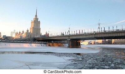 bâtiment, staline, moscou, haut-ascension, époque