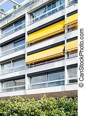 bâtiment, style, jaune, francais, marquises, architectural,...