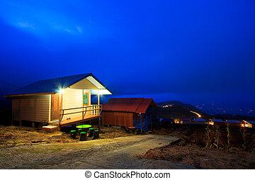 bâtiment, style, soir, résidence, extérieur, thaï