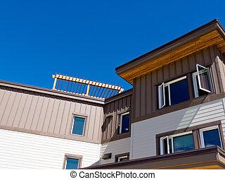 bâtiment, supérieur, vêtu, étage, extérieur, copropriété, bois construction