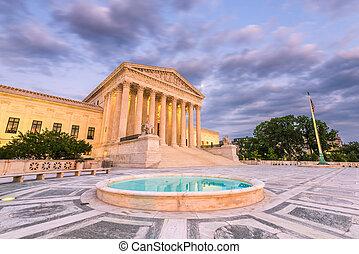 bâtiment, suprême, uni, tribunal, usa., dc, etats, washington