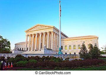 bâtiment, suprême, uni, tribunal, washington dc, etats