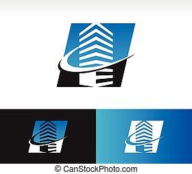 bâtiment, swoosh, moderne, icône
