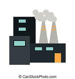 bâtiment, symbole, usine