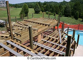 bâtiment, tôt, étapes, piscine