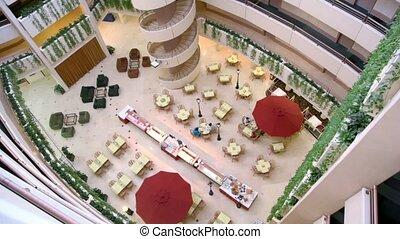 bâtiment, tables, monter, gens, asseoir, hight, plancher, café, plusieurs, premier