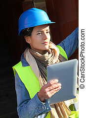 bâtiment, tablette, site, architecte, utilisation, électronique