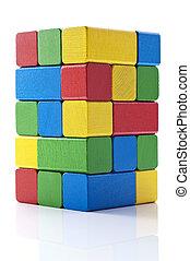 bâtiment, tas, coloré, bloc
