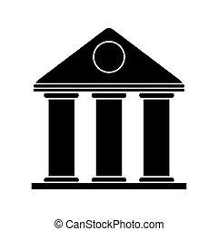 bâtiment, temple, université, style, pictogramme