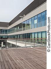 bâtiment, terrasse, bureau