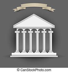 bâtiment, texte, banner-ribbon, banque