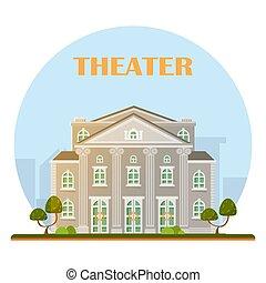 bâtiment, théâtre, vector.