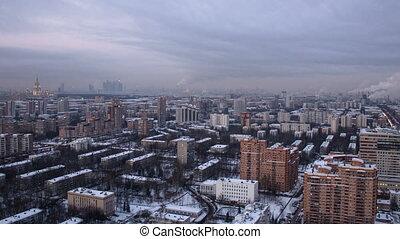 bâtiment, timelapse, centre, moscou, toit, panoramique, russie, vue
