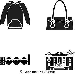 bâtiment, toile, ensemble, brûlé, icônes, collection., femmes, autre, noir, sac main, habillement, usine, style., icône