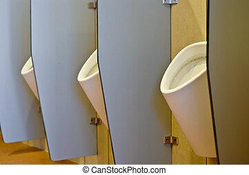 bâtiment, toilette, bureau, derrière, urinals, partitions