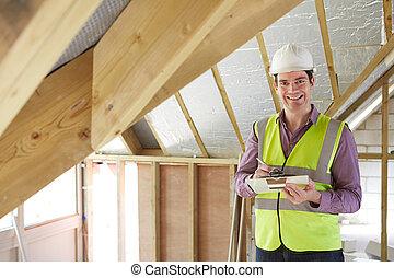 bâtiment, toit, regarder, nouveau, inspecteur, propriété