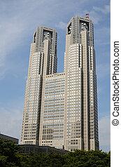 bâtiment, tokyo, métropolitain, gouvernement
