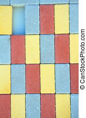 bâtiment, ton, coloré, lettres, blocks., symboles, conception, prêt, logo., ou