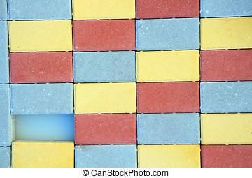bâtiment, ton, coloré, symbole, lettres, blocks., prêt, conception