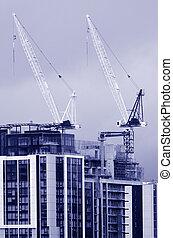 bâtiment, tour, site construction, grues, nouveau