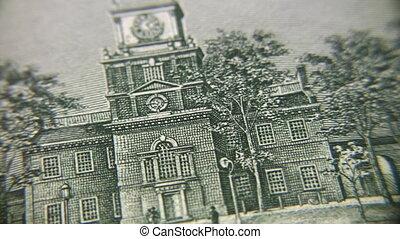 bâtiment, tourner, dessin, billet banque