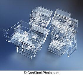 bâtiment, transparent