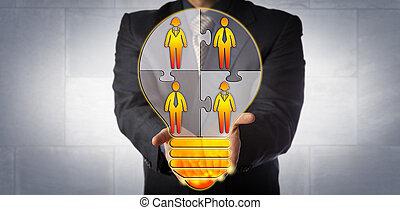 bâtiment, travail, idée, directeur, présentation, équipe