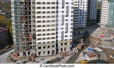 bâtiment, travail, voitures, ouvriers, là, site, ascenseurs, aller